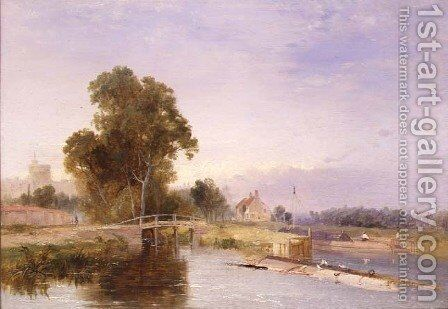 Barge by a lock gate, Windsor beyond by James Baker Pyne - Reproduction Oil Painting