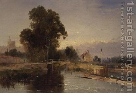 Barge with a Lock Gate and Windsor Beyond by James Baker Pyne - Reproduction Oil Painting
