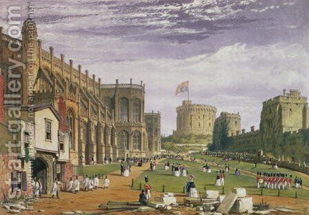 Lower Ward with a view of St Georges Chapel and the Round Tower, Windsor Castle, 1838 by James Baker Pyne - Reproduction Oil Painting