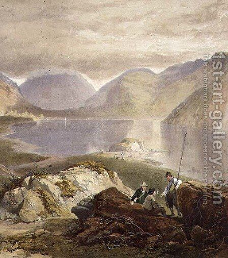 Wast Water, detail of fishermen, from The English Lake District, 1853 by James Baker Pyne - Reproduction Oil Painting
