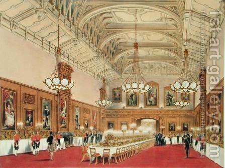 The Waterloo Gallery, Windsor Castle, on the visit of the Emperor of Russia, 1838 by James Baker Pyne - Reproduction Oil Painting