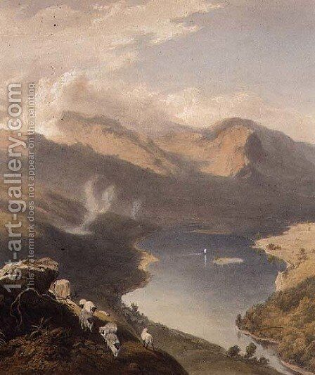 Grasmere from Langdale Fell, detail of the lake, from The English Lake District, 1853 by James Baker Pyne - Reproduction Oil Painting