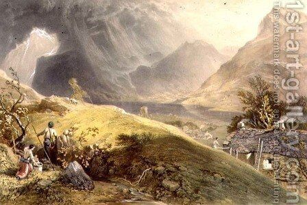 Lake Buttermere, from The English Lake District, 1853 by James Baker Pyne - Reproduction Oil Painting