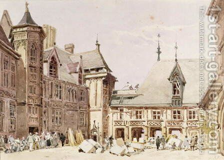 Jacques Coeurs House at Bourges, Cher, France by Charles Claude Pyne - Reproduction Oil Painting