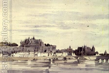 View of Amboise, France by Charles Claude Pyne - Reproduction Oil Painting