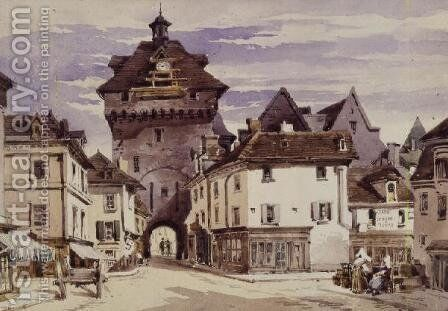 Street Scene in Loches, France by Charles Claude Pyne - Reproduction Oil Painting