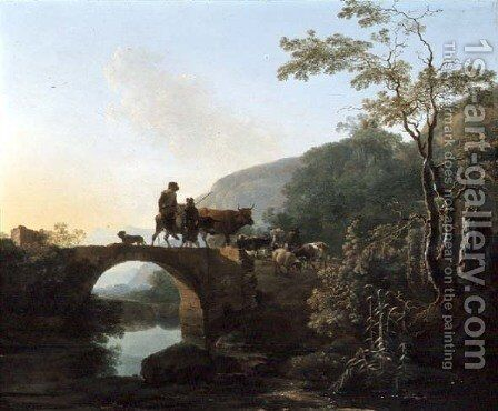 Bridge in an Italian landscape by Adam Pynacker - Reproduction Oil Painting