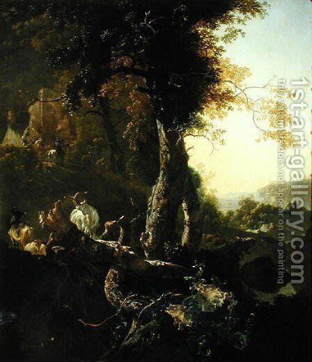 Landscape with Rising Sun by Adam Pynacker - Reproduction Oil Painting