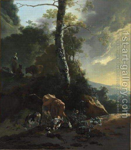 Landscape with Enraged Ox, 1665-70 by Adam Pynacker - Reproduction Oil Painting