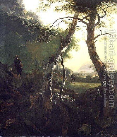 An Italian Wooded Landscape with Figures and Cattle by Adam Pynacker - Reproduction Oil Painting