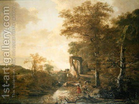 Landscape with Arched Gateway, c.1654 by Adam Pynacker - Reproduction Oil Painting