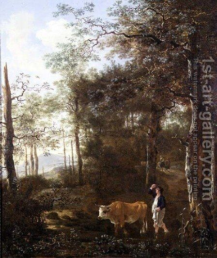 Cowherd in a Clearing by Adam Pynacker - Reproduction Oil Painting