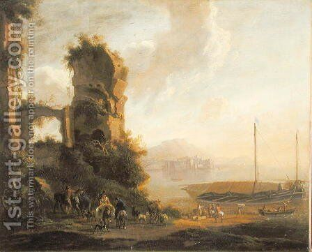Italian Coastal Landscape by Adam Pynacker - Reproduction Oil Painting