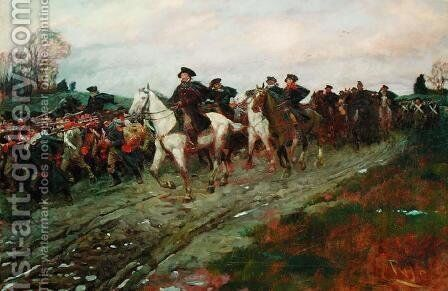 The Retreat through the Jerseys, from The Story of the Revolution by Henry Cabot Lodge (1850-1924, published in Scribners Magazine, April 1898 by Howard Pyle - Reproduction Oil Painting