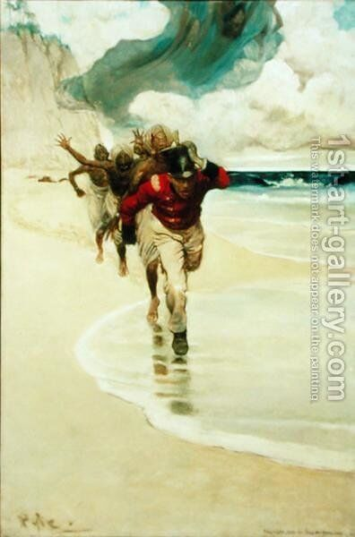 We Started to Run Back to the Raft for our Lives, from Sinbad on Burrator by Arthur Quiller-Couch 1863-1944, published in Scribners Magazine, August 1902 by Howard Pyle - Reproduction Oil Painting