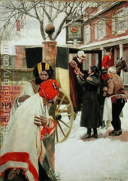 Upon the Last Stage of the Journey, They Stopped for Dinner at a Tavern or The Spies, from The Price of Blood by Howard Pyle by Howard Pyle - Reproduction Oil Painting