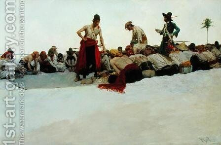 So the Treasure was Divided, from The Fate of Treasure Town by Howard Pyle, published in Harpes Monthly Magazine, December 1905 by Howard Pyle - Reproduction Oil Painting