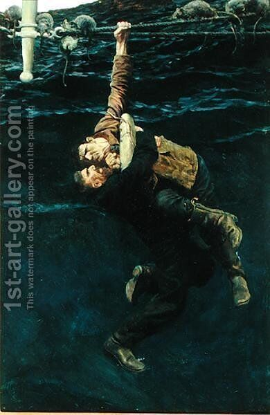 He Lost his Hold and Fell, Taking Me with him, from The Grain Ship by Morgan Robertson, published in Harpers Monthly Magazine, March 1909 by Howard Pyle - Reproduction Oil Painting
