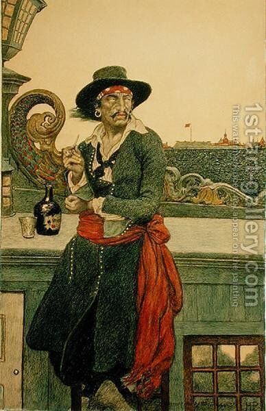 Kidd on the Deck of the Adventure Galley, from The True Captain Kidd' by John D. Champlin, published in Harpers Monthly Magazine, December 1902 by Howard Pyle - Reproduction Oil Painting