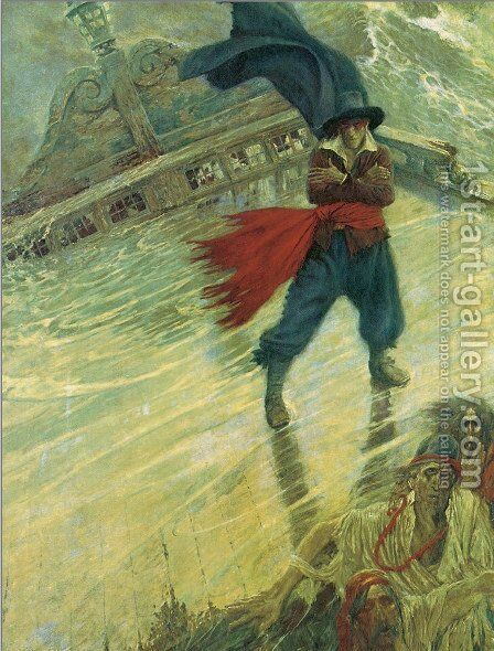 The Flying Dutchman, published in Colliers Weekly, December 8, 1900 by Howard Pyle - Reproduction Oil Painting