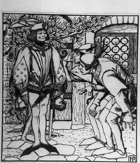 Peterkins brothers marvel at the fine clothes that the hare gave him by Howard Pyle - Reproduction Oil Painting