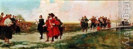 The Landing of Carteret in New Jersey by Howard Pyle - Reproduction Oil Painting