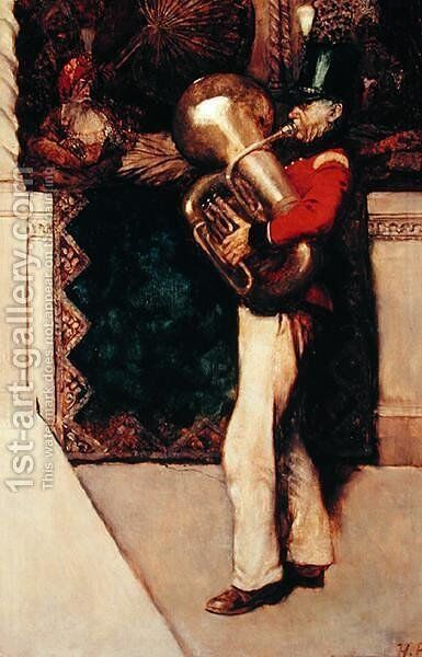 I Began to Play, from Sinbad in Burrator by Arthur Quiller-Couch 1863-1944, published in Scribners Magazine, August 1902 by Howard Pyle - Reproduction Oil Painting