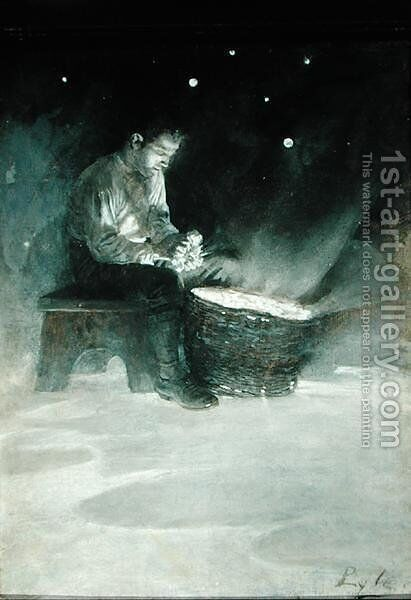 David Sat Down on the Wooden Bench and Took Up a Big Blue Star, from The Garden Behind the Moon by Howard Pyle, published 1895 by Howard Pyle - Reproduction Oil Painting