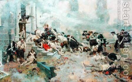 The Attack Upon the Chew House, from The Story of the Revolution by Henry Cabot Lodge 1850-1924, published in Scribners Magazine, June 1898 by Howard Pyle - Reproduction Oil Painting
