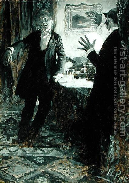 He Put the Glass to his Lips and Drank at one Gulp, from Dr. Jekyll and Mr. Hyde by Robert Louis Stevenson 1850-94, American edition, published 1895 by Howard Pyle - Reproduction Oil Painting