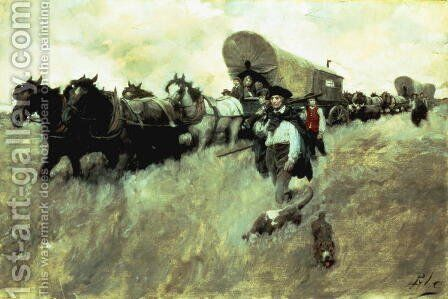 The Connecticut Settlers Entering the Western Reserve by Howard Pyle - Reproduction Oil Painting