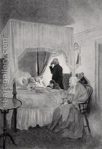 The Death of Washington at Mount Vernon, 14th December 1799 by Howard Pyle - Reproduction Oil Painting