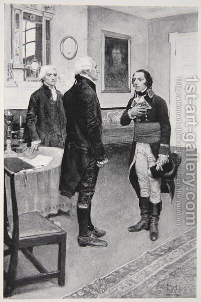 Citizen Genet formally presented to Washington, April 19th 1793 by Howard Pyle - Reproduction Oil Painting