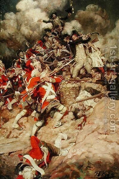 They Scrambled up the Parapet and Went Over the Top, Pell Mell, Upon the British, or The Battle of Yorktown, from Janice Meredith by Paul Leicester Ford 1865-1902, published 1899 by Howard Pyle - Reproduction Oil Painting