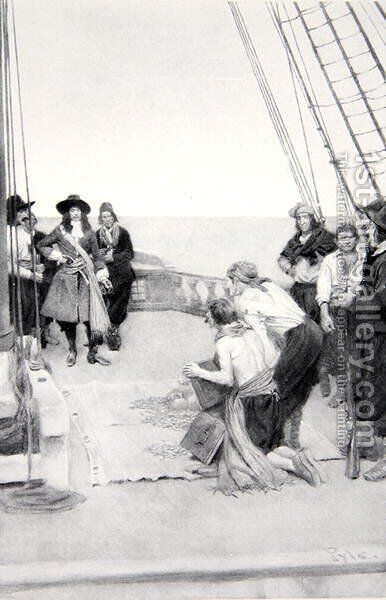 Phips recovering the sunken treasures, 1690s, published in Harpers Magazine, 1901 by Howard Pyle - Reproduction Oil Painting