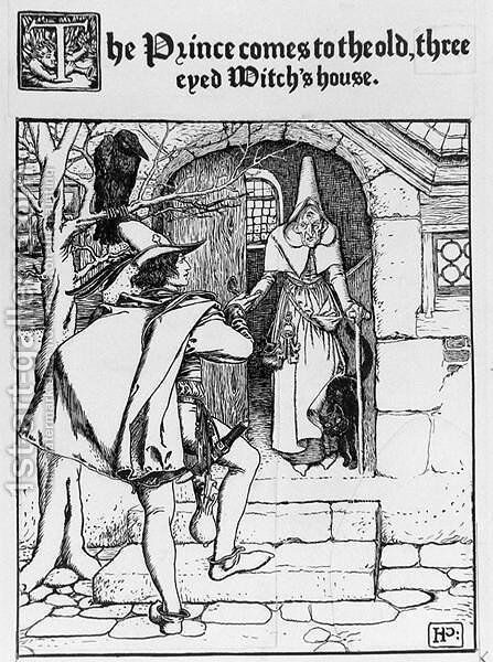 The Prince comes to the old three eyed Witchs house by Howard Pyle - Reproduction Oil Painting