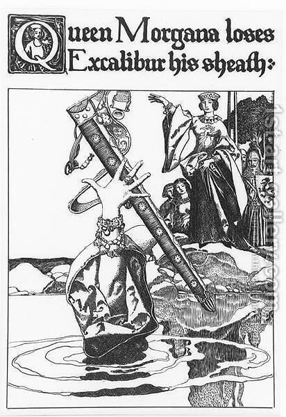 Queen Morgana loses Excalibur his sheath by Howard Pyle - Reproduction Oil Painting