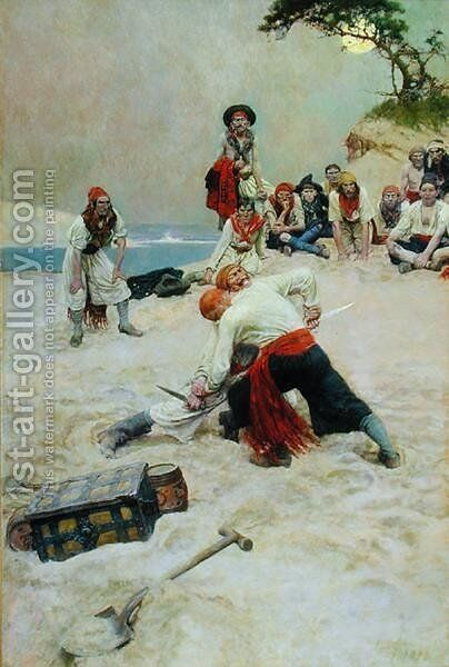 Which Shall Be Captain, from The Buccaneers, published in Harpers Monthly Magazine, 1911 by Howard Pyle - Reproduction Oil Painting