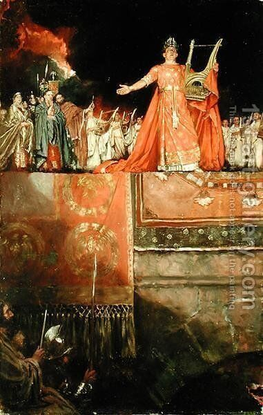 Nero AD 37-68 holding a golden lute with Rome in flames, from Quo Vadis by Henryk Sienkiewicz, published 1897 by Howard Pyle - Reproduction Oil Painting