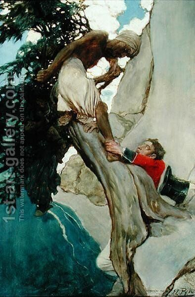 I Clutched at his Ankle, from Sinbad in Burrator by Arthur Quiller-Couch 1863-1944, published in Scribners Magazine, August 1902 by Howard Pyle - Reproduction Oil Painting