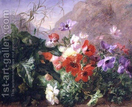 Still Life of Anemones in Undergrowth by Elise Puyroche-Wagner - Reproduction Oil Painting