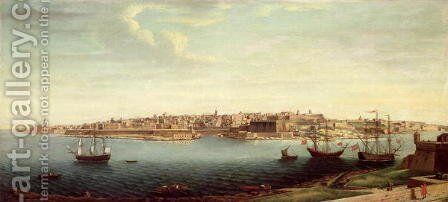 View of Valetta and the Grand Port of Malta with Ships of the Knights of St. John by Alberto Pulicino - Reproduction Oil Painting
