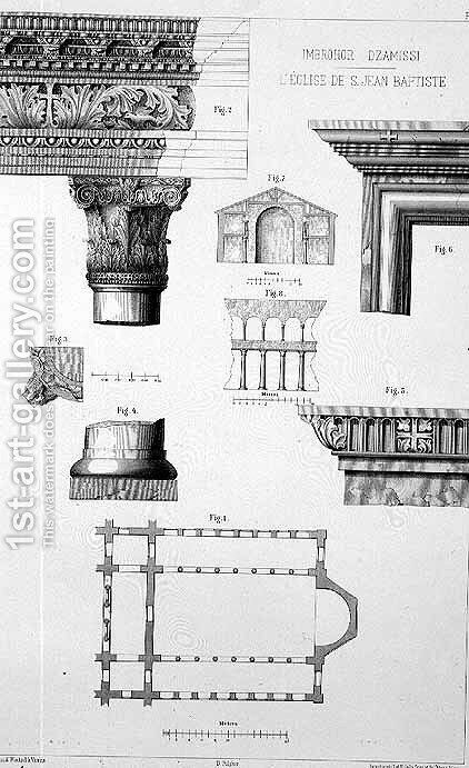 Plan and architectural details of Imbrohor Dzamissi, the Church of St. John the Baptist, from Church Architecture of Constantinople, pub. by Lehmann and Wentzel of Vienna, c.1870-80 by (after) Pulgher, D. - Reproduction Oil Painting