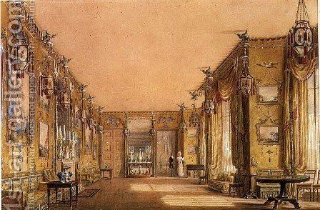 Interior of the Yellow Drawing Room at Brighton Pavilion, c.1820 by Augustus Charles Pugin - Reproduction Oil Painting