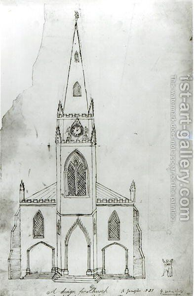 A Design for a Church, 1821 by Augustus Charles Pugin - Reproduction Oil Painting