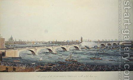 The Opening of the Waterloo Bridge on the 18th of June, 1817, etched by A. Pugin from a drawing by W. Findlater, engraved by R. Havell and Son, 1818 by Augustus Charles Pugin - Reproduction Oil Painting