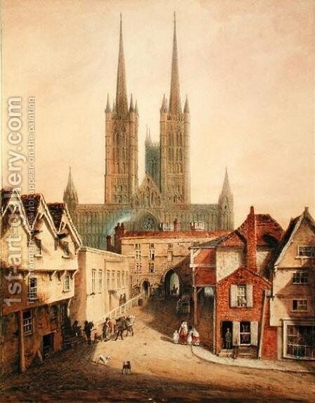 Lincoln Cathedral, before 1808 by Augustus Charles Pugin - Reproduction Oil Painting