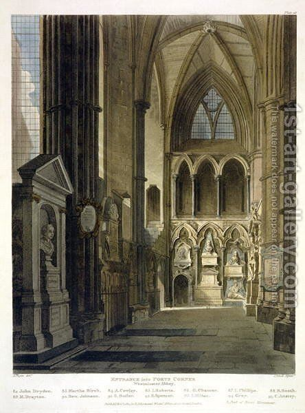 Entrance into Poets Corner, plate 26 from Westminster Abbey, engraved by J. Bluck fl.1791-1831 pub. by Rudolph Ackermann 1764-1834 1811 by (after) Pugin, Augustus Charles - Reproduction Oil Painting