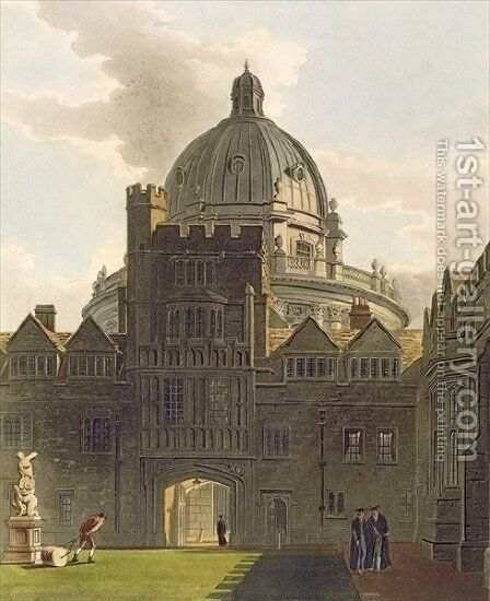 Exterior of Brasenose College and Radcliffe Library, illustration from the 'History of Oxford', engraved by J. Bluck fl.1791-1831 pub. by R. Ackermann, 1814 by (after) Pugin, Augustus Charles - Reproduction Oil Painting