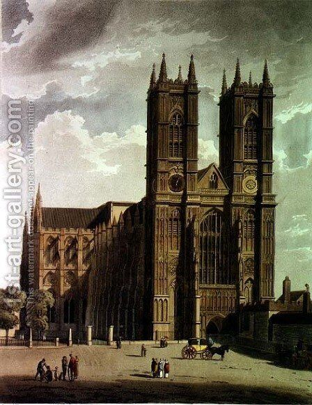The West Front, plate 2 from Westminster Abbey, engraved by J. Bluck fl.1791-1831 pub. by Rudolph Ackermann 1764-1834 1811 by (after) Pugin, Augustus Charles - Reproduction Oil Painting